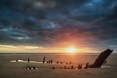 Beautiful Dramatic Sunset Landscape Over Shipwreck On Rhosilli Bay Beach Digital Painting Print by Matthew Gibson