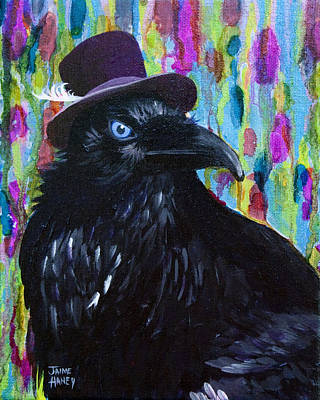 Beautiful Dreamer Black Raven Crow 8x10 Mixed Media By Jaime Haney Art Print