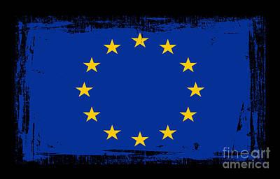Abstract Digital Mixed Media - Beautiful European Union Flag by Pamela Johnson