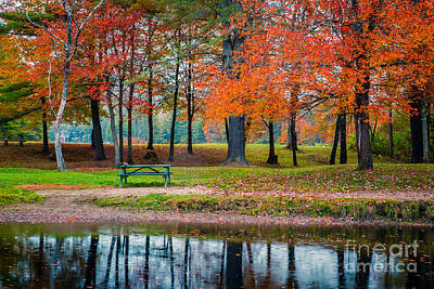 Picnic Table Photograph - Beautiful Fall Foliage In New Hampshire by Edward Fielding