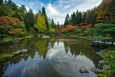 Koi Pond Photograph - Beautiful Fall Japanese Garden by Mike Reid