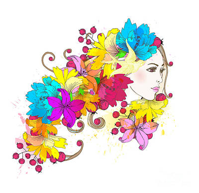 Beauty Wall Art - Digital Art - Beautiful Fashion Women With Abstract by Komar Art