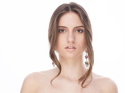 Beautiful Female With Earrings Art Print by Anastasia Yadovina