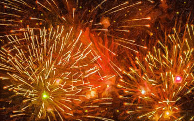 Freedom Party Painting - Beautiful Fireworks 4 by Lanjee Chee