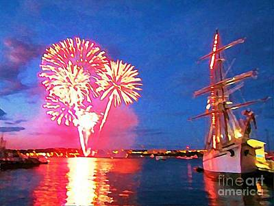 Art In Halifax Digital Art - Beautiful Fireworks In Halifax Harbor by John Malone