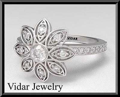 14k Jewelry - Beautiful Flower Diamond 14k White Gold Engagement Ring by Roi Avidar