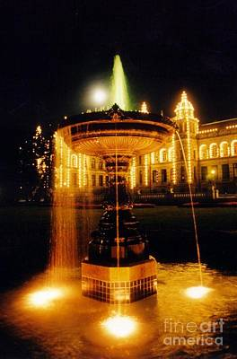 Beautiful Fountain At Night Art Print