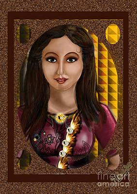 Beautiful Girl In The Frame  Art Print by Artist Nandika  Dutt