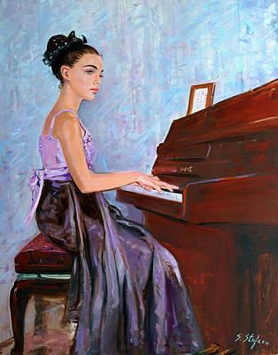 Girl Playing Piano Painting - Beautiful Girl Playing Piano by Sefedin Stafa