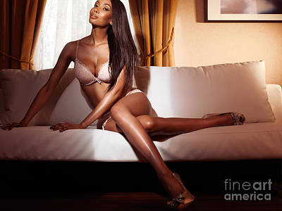 Woman Lingerie Photograph - Beautiful Glamorous Black Woman In Lingerie Sitting On Sofa by Oleksiy Maksymenko