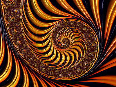 Digital Art - Beautiful Golden Fractal Spiral Artwork  by Matthias Hauser