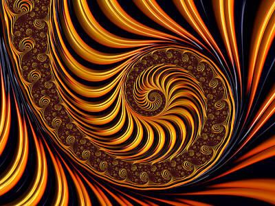 Art Print featuring the digital art Beautiful Golden Fractal Spiral Artwork  by Matthias Hauser