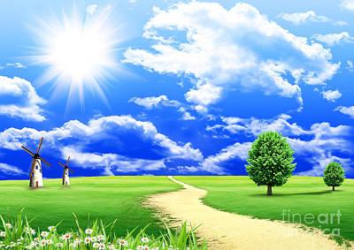 Beautiful Green Field Art Print by Boon Mee