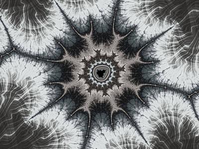 Meditative Digital Art - Beautiful Grey Silver And Beige Fractal by Matthias Hauser