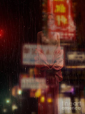 China Town Photograph - Beautiful Half Naked Asian Woman In Front Of Wet Window by Oleksiy Maksymenko