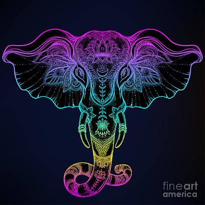 Psychedelic Wall Art - Digital Art - Beautiful Hand-drawn Tribal Style by Gorbash Varvara