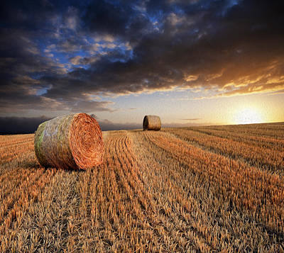 Beautiful Hay Bales Sunset Landscape Digital Painting Print by Matthew Gibson
