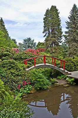 Photograph - Beautiful Japanese Garden Landscape With Red Bridge by Valerie Garner