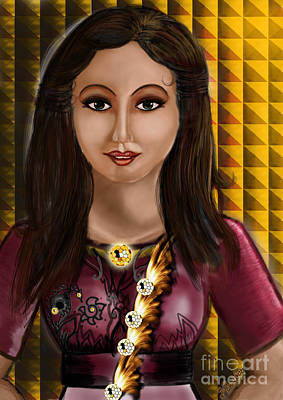 Beautiful Lady Art Print by Artist Nandika  Dutt