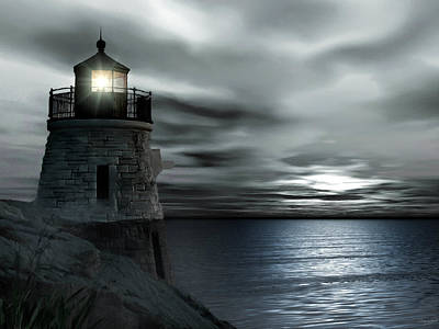 New England Lighthouse Photograph - Beautiful Light In The Night by Lourry Legarde