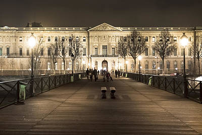 Beautiful Louvre Museum Viewed From The Pont Des Arts At Night Art Print by Mark E Tisdale