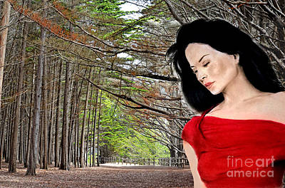 Digital Art - Beautiful Lucy Liu At The Entrance Of A Wooded Bluff  by Jim Fitzpatrick