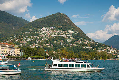 Photograph - Beautiful Lugano In Switzerland With Boats On Lake Lugano by Matthias Hauser