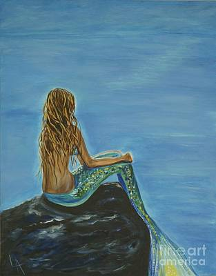Of A Siren Painting - Beautiful Magical Mermaid by Leslie Allen