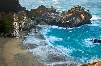 Ledge Photograph - Beautiful Mcway Falls Along The Big Sur Coast. by Jamie Pham