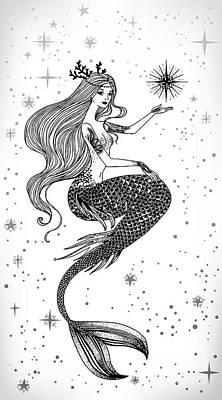 Beautiful Woman Wall Art - Digital Art - Beautiful Mermaid With Star In Her by Anastasia Mazeina