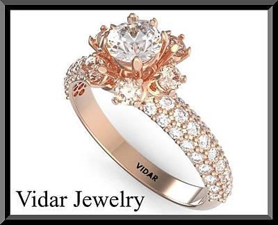 14k White Gold Jewelry - Beautiful Moissanite And Diamond 14k Rose Gold Engagement Ring by Roi Avidar