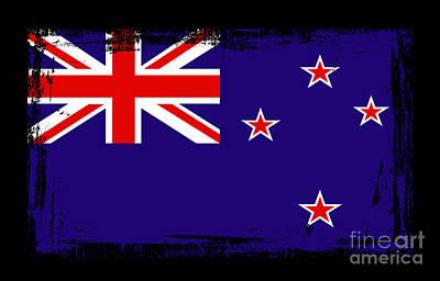Kiwi Mixed Media - Beautiful New Zealand Flag by Pamela Johnson