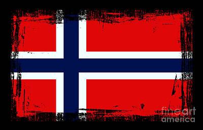 Norway Mixed Media - Beautiful Norway Flag by Pamela Johnson