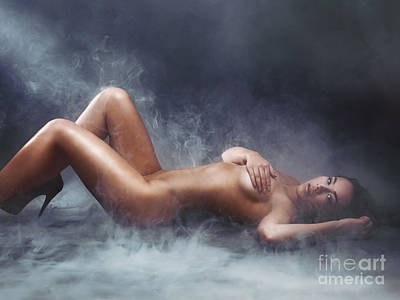 Erotica Photograph - Beautiful Nude Woman Lying In Clouds Of Smoke by Oleksiy Maksymenko