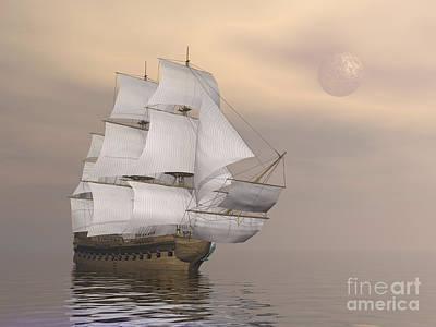 Beautiful Old Merchant Ship Sailing Print by Elena Duvernay