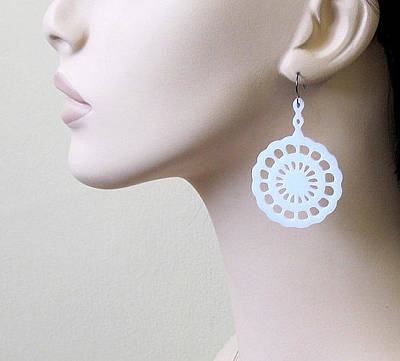 Perspex Jewelry Jewelry - Beautiful Original Lace Flower Earrings by Rony Bank