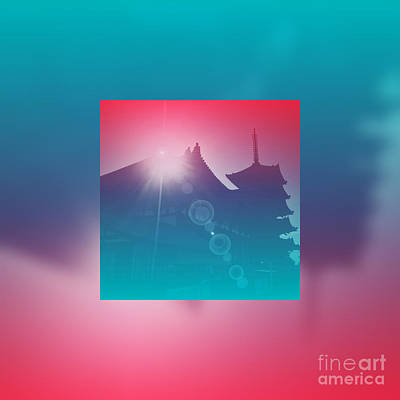 Sun Rays Digital Art - Beautiful Pagoda And Temple Silhouette At Sunrise by Beverly Claire Kaiya