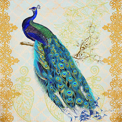Jean Plout Painting - Beautiful Peacock-b by Jean Plout