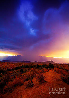 Photograph - Beautiful Rain Storm Sunrise In The Scenic Desert With Dramatic Clouds by Jerry Cowart