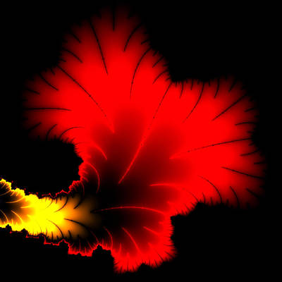 Beautiful Red And Yellow Floral Fractal Artwork Square Format Print by Matthias Hauser