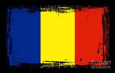 Romania Mixed Media - Beautiful Romania Flag by Pamela Johnson