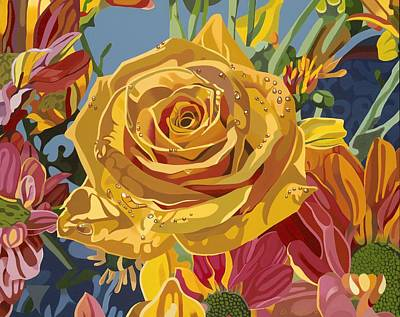 Wildlife Landscape Painting - Beautiful Rose by Darrell Hopkins