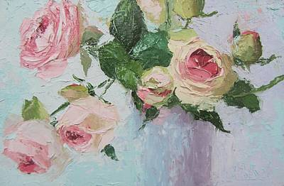 Beautiful Roses Oil Palette Knife Painting Art Print by Chris Hobel