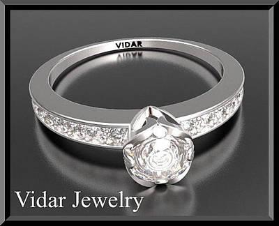 14k Jewelry - Beautiful Round Diamond 14k White Gold Engagement Ring by Roi Avidar