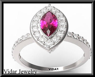 14k Jewelry - Beautiful Ruby And Diamond 14k White Gold Marquise Engagement Ring by Roi Avidar