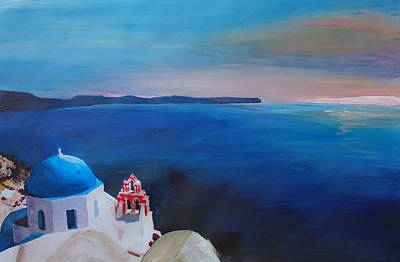 Office Wall Painting - Beautiful Santorini Sunset In Oia Greece by M Bleichner