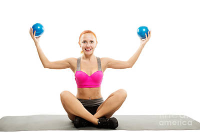 Impressionist Landscapes - Beautiful sensual woman doing fitness with balls by Nikita Buida