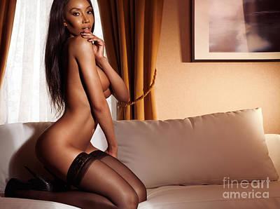 Beautiful Sexy Half Naked Woman In Black Stockings Posing On Sof Art Print by Oleksiy Maksymenko