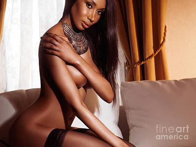 Long Necklace Photograph - Beautiful Sexy Half Nude Black Woman Posing On Sofa by Oleksiy Maksymenko
