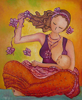 Painting - Beautiful Sitting Mama Breastfeeding by Gioia Albano